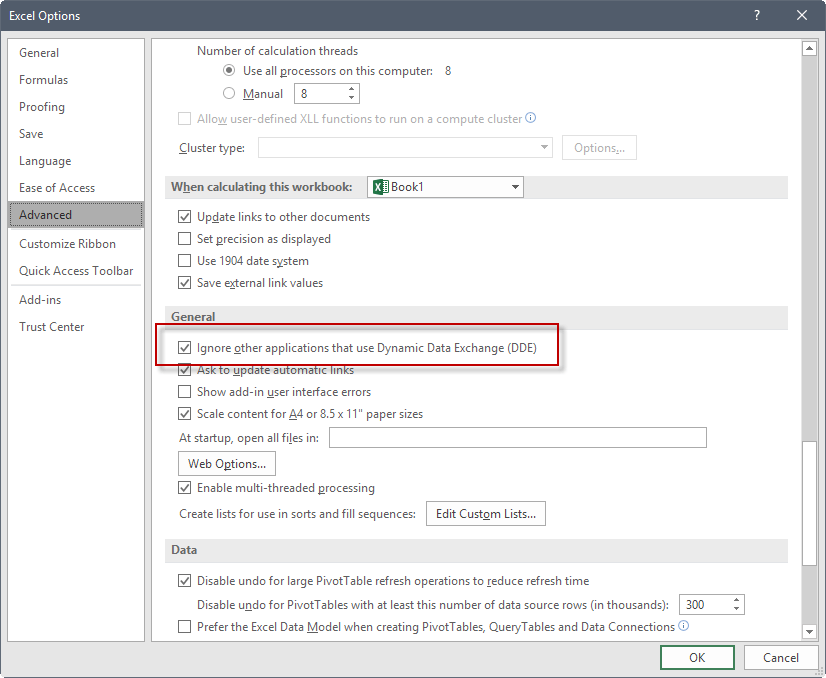 dynamic data exchange excel fix