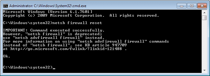 reset windows firewall