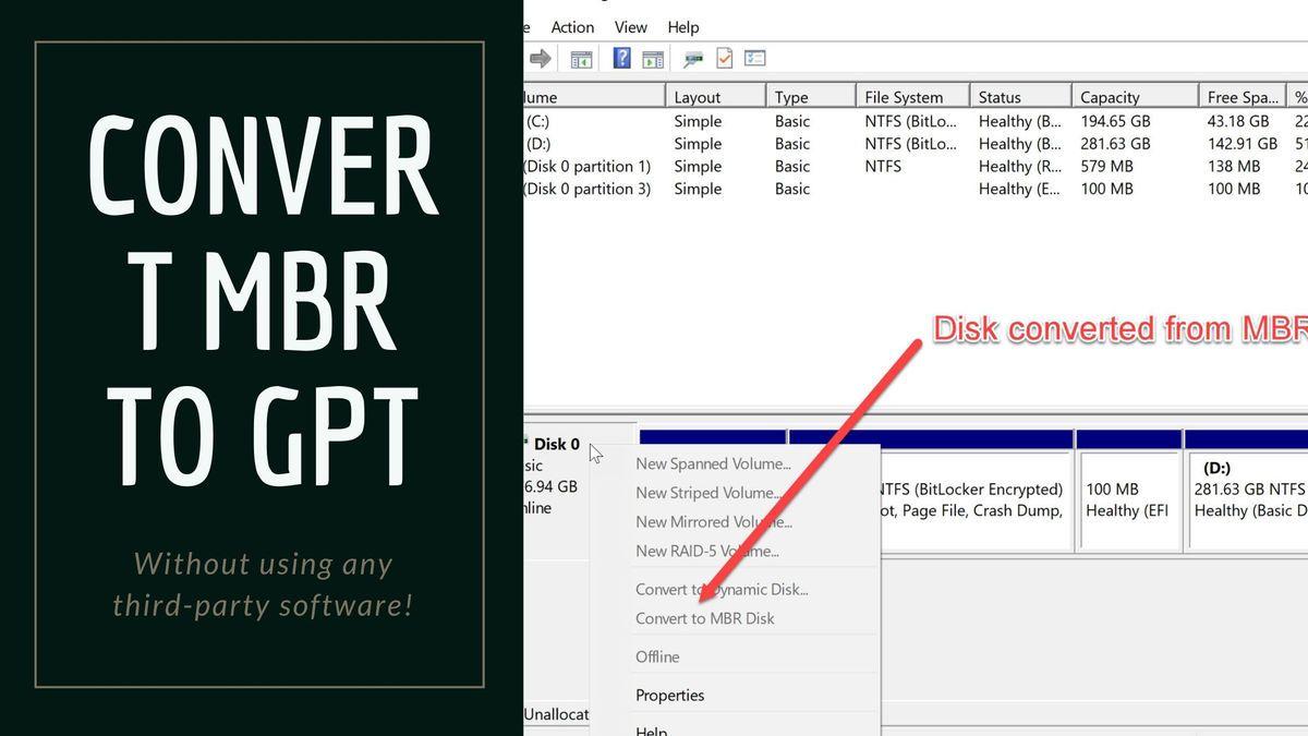 Windows 10에서 무료로 MBR을 GPT로 변환하는 방법(데이터 손실 없이)