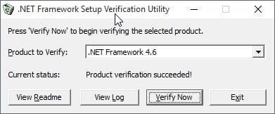 net framework setup verification tool